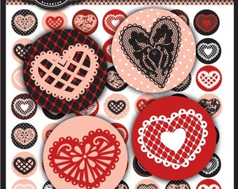 Lace Hearts Collection 1 x 1 inch Circle Digital Collage Sheet for Valentine's Day, bottle caps,  jewelry