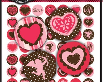 Paper Hearts Digital Collage Sheet 1 x 1 inch Circles for valentine's day, bottle caps,  jewelry, magnets, stationary, invitations, bows