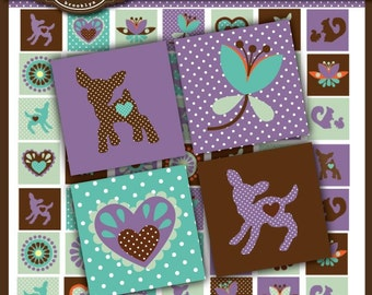 The Dandy Doe 1 x 1 inch Square Digital Collage Sheet for scrabble tiles,  jewelry, magnets and all crafts