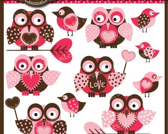 Paper Hearts Collection Valentine Owls Clipart Elements for valentine's day, cards, stationary, invitations, scrapbooking