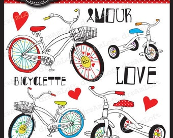 Bicycle Love Clip Art Elements for cards, stationary, invitations, scrapbooking, image transfer, iron-on and all paper crafts