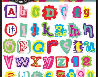 Fun Alphabet and Number Cutouts Clipart Set Collage Sheet for cards, stationary, invitations, scrapbooking and all paper crafts