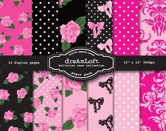 Ballerina Rose Digital Paper Pack perfect for stationary, buttons, coasters, birthday themes, prints, packaging design, labels, gift paper
