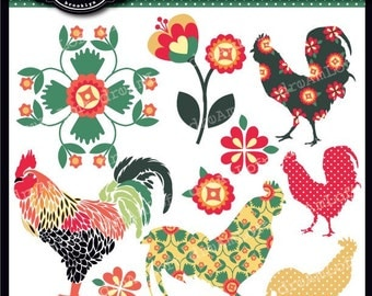 Country Rooster Collection Clipart Elements Collage Sheet for cards, stationary, invitations, scrapbooking and all paper crafts