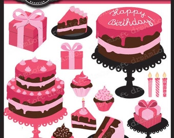 SALE Birthday Party Pink Chic Clip Art Elements Collage Sheet for cards, stationary, invitations, scrapbooking and all paper crafts