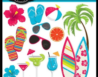 Tropical Beach Party Collection Clip Art Elements for cards, stationary, invitations, party favors, and all paper crafts