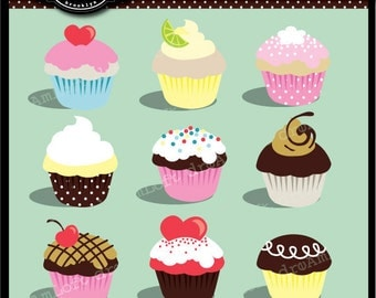 Cupcake Clip Art Super Cute Cupcakes Digital Clipart for Personal and Commercial use
