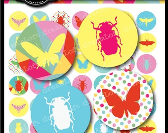 Butterfly and Bug Silhouettes Collection 1 x 1 inch Circle Digital Collage Sheet for bottle caps,  jewelry, magnets, stationary, invitations