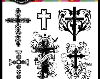 Fancy Cross Clip Art for religious cards, christenings, baptisms, communion and other crafts
