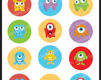 Little Monsters 2 Inch Round Circles for stickers, coasters, tags, pendants, cupcake toppers, pins and more