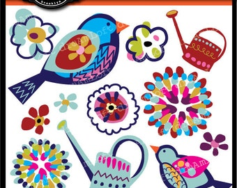 Painted Garden Collection Clip Art for party themes, invitations, stationary, scrapbooking and more