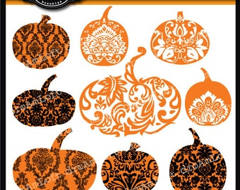 Halloween Clip Art Damask Pumpkins Digital Clipart for Personal and Commercial Use