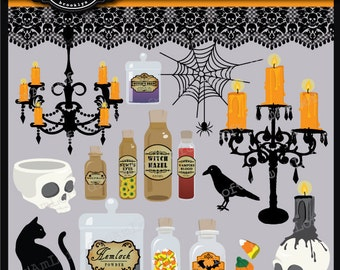 Halloween Clip Art The Haunted Apothecary  for Personal and Commercial Use Clipart