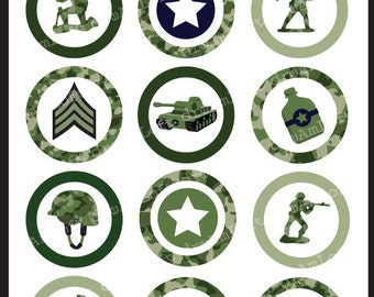 Little Green Army Men 2 Inch Round Circles for stickers, coasters, tags, pendants, cupcake toppers, pins and more