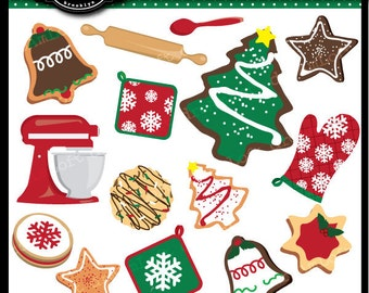 Christmas Cookies Clip Art for digital scrapbooking, cardmaking, and commercial use.