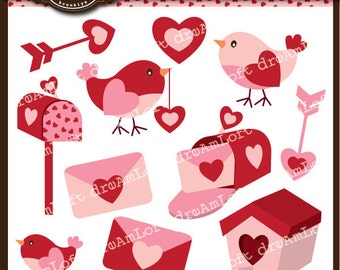 Valentine Clip Art - Love Birds ClipArt Elements for valentine's day, cards, stationary, invitations, scrapbooking