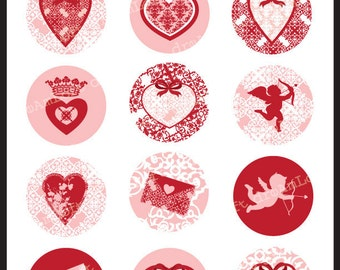 Victorian Valentine Collection 2 inch Round Printable Circles for stickers, cupcake toppers, cards, stationary, invitations