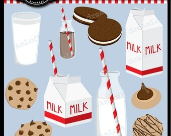 Milk and Cookies Clip Art Digital Collage Sheet Clipart for parties, stationary, invitations, scrapbooking