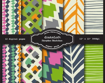 Digital Papers - Simple Sketches- perfect for stationary, buttons, coasters, prints, packaging design, labels, gift paper