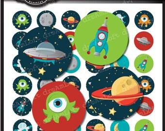 Outer Space Digital Collage Sheet 1 x 1 inch Circles