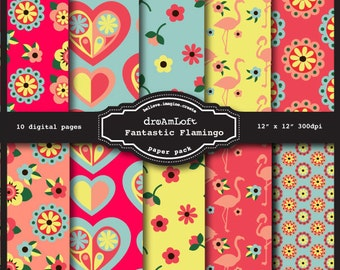 Fantastic Flamingo Digital Papers for packaging, cards, stationary, invitations, scrapbooking and all paper crafts