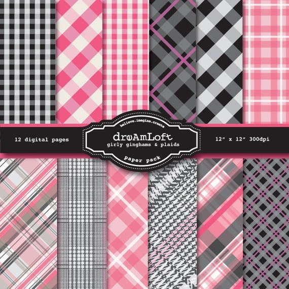 Girly Gingham and Plaid Digital Paper Pack in Pink and Black for cards, stationary, invitations, scrapbooking and all paper crafts