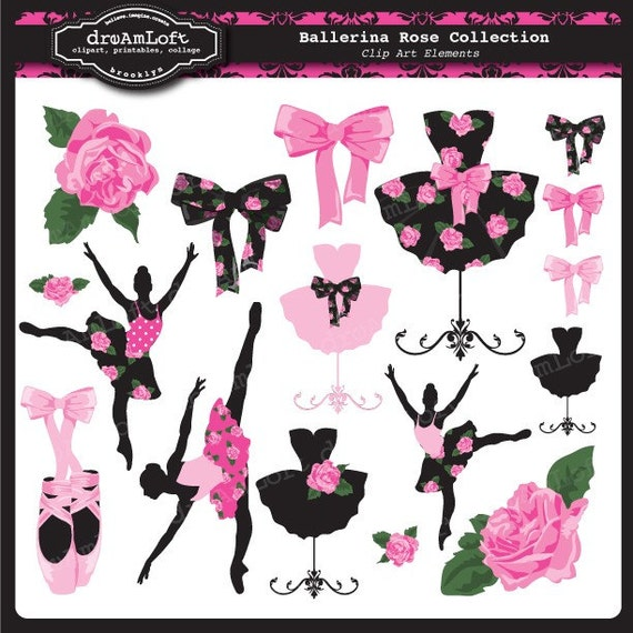 Ballerina Clip Art Collection Clipart Elements Collage Sheet for cards, stationary, invitations, scrapbooking