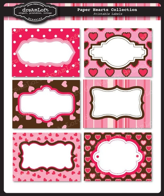 Items similar to Paper Hearts Collection Printable Cards