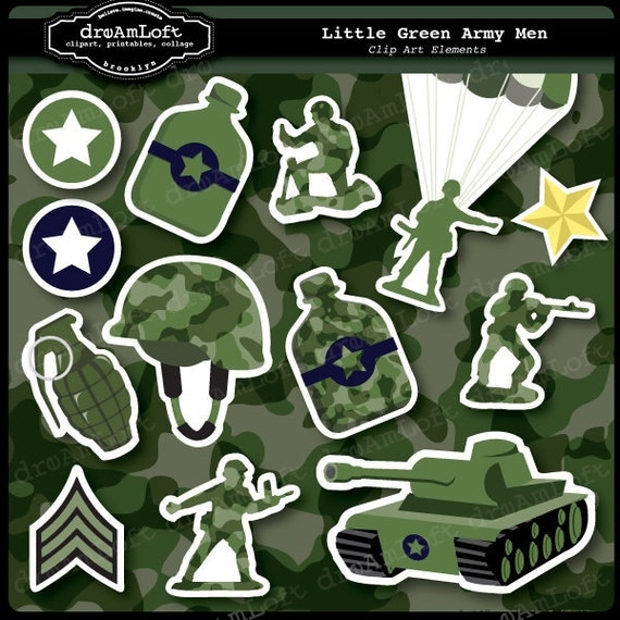 Little Green Army Men Clipart Set For Boys Party Themes