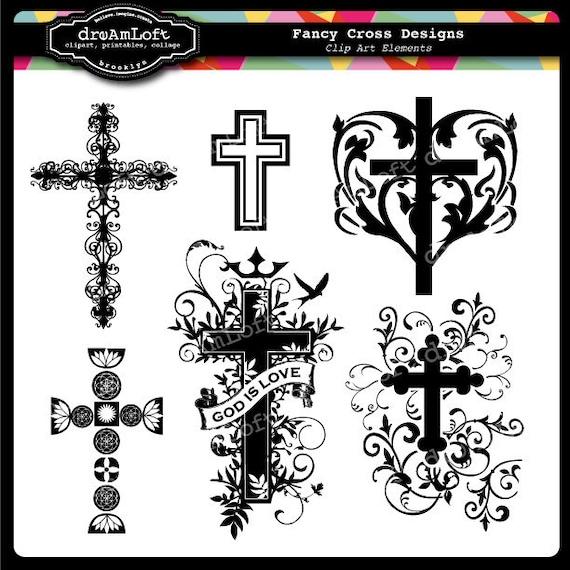 Fancy Cross Clip Art for religious cards christenings