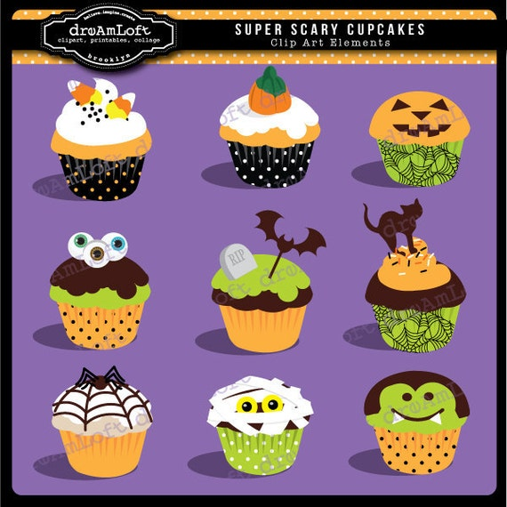 Halloween Clip Art Super Scary Cupcakes Digital Clipart for Personal and Commercial use
