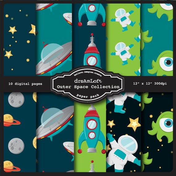 Outer Space Digital Paper Pack perfect for stationary, buttons, coasters, prints, packaging design, labels, gift paper