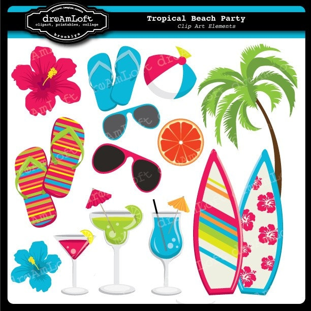Tropical Beach Party Collection Clip Art Elements for cards