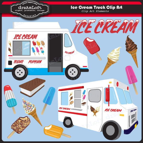 Ice Cream Truck Clip Art for Personal and Commercial Use  Ice Cream Truck...