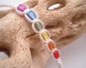 White macrame rainbow wish bracelet