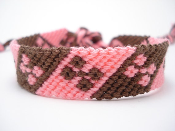 Micro macrame stripe and flower friendship bracelet - pink and brown