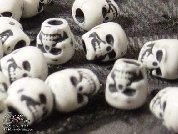 36 White Skull Beads
