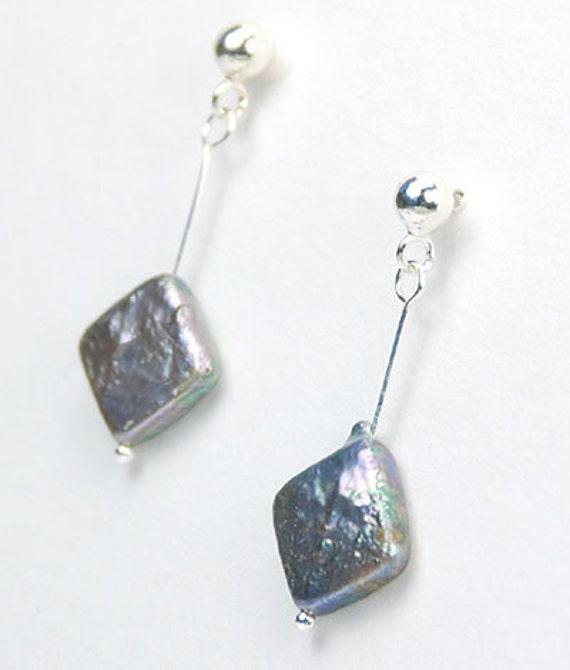 On Sale Dangling  Rainbow Grey Pearls Sterling Silver Earrings
