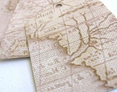 20 Fancy, vintage map style, high quality, recycled paper, shipping tags