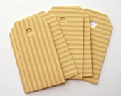 30 High quality, striped mustard design, recycled paper shipping tags