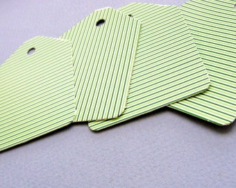 30 Beautiful, high quality, striped green design, recycled paper shipping tags