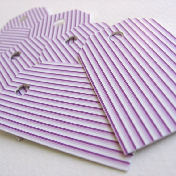 30 Beautiful, high quality, striped fuchsia design, recycled paper shipping tags