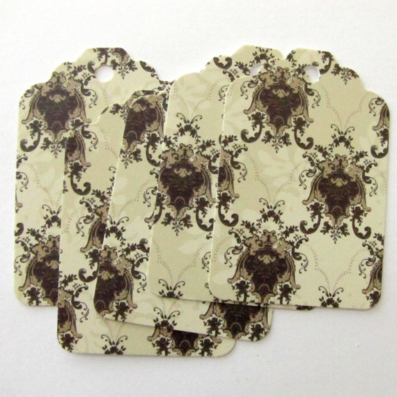 Damask Brocade Design 20 High Quality Recycled Paper Shipping Tags