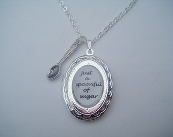 Mary Poppins Spoonful Of Sugar Silver Locket and Spoon Charm Necklace