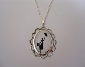 Mary Poppins Silhouette Silver Cameo Necklace/Pendant