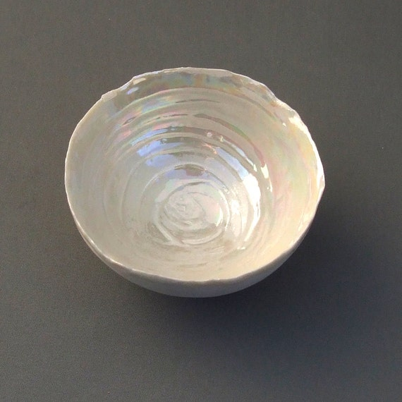 House Warming Gift - Porcelain Bowl Pearl - 30th Wedding Anniversary Gift - Ceramic Decorative Bowl - Mothers Day Gift - Home Gifts Pearl