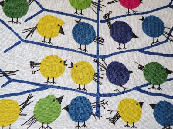 Mid Century Eames Era BIrD Motif Linen Fabric by S M HEXTER  Imported from  West Germany 25 X 53.5