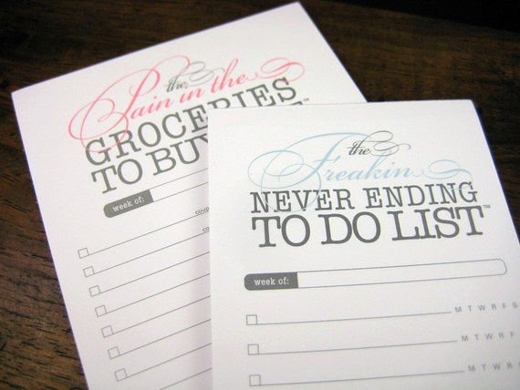 Freakin To Do AND Pain In The Groceries list notepads - 2 pack