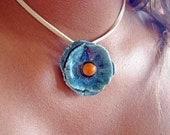 Ceramic Floral Necklace Blue Orange Flower Pendant
