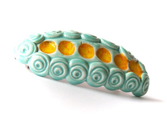 Aqua and yellow barrette, ceramic barrette, clay barrette, hair accessoires spring summer collection